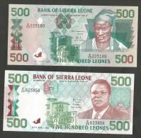 [NC] SIERRA LEONE - BANK Of SIERRA LEONE - 500 LEONES (1991 / 1995) Lot Of 2 Banknotes - Sierra Leone
