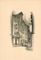 """Das Haus Zum """"Rothen Gatter"""" Original-Lithographie Von Otto Baumberger In Zürich, Heute Münstergasse 23 Blattgröße 30,5 - Lithographies"""
