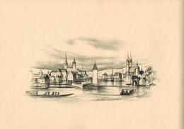 Die Stadt Zürich Um 1760 Original-Lithographie Von Otto Baumberger Nach Einem Stich Im Besitze Der Zentralbibliothek In - Lithographies