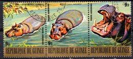 GUINEA 1977 Endangered Animals - 9s Hippopotamus  CTO (3 Separate Stamps Showing Views Of Hippopotamuses) - Guinea (1958-...)