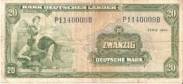 BILLETE DE ALEMANIA DE 20 MARCK DEL AÑO 1949  (BANKNOTE) RARO - [ 7] 1949-… : RFD - Rep. Fed. Duitsland