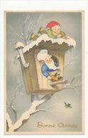 Bonne Année. Lutin Cuisinier, Lutin Joueur De Pipeau, Maison Nichoir, Oiseaux  Coloprint 2170/1 1953 - Nouvel An