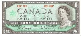BILLETE DE CANADA DE 1 DOLLAR DEL AÑO 1967 CENTENARIO CONFEDERACION 1867-1967 (BANKNOTE) SIN CIRCULAR-UNCIRCULATED - Canada