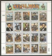 USA. Scott # 2975a-t, MNH Sheet Of 20. Civil War. 1995 - Hojas Completas