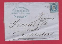 FACTURE DE PARIS // POUR CARPENTRAS  //   9 SEPT 1869  //  ETAB MESSAGERS - 1849-1876: Classic Period