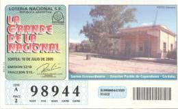 ESTACION PUEBLO DE COPACABANA CORDOBA FOTO CAMARO LOTTERY TICKET ARGENTINA - Billetes De Lotería