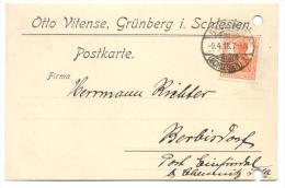 Firmen - Ganzsache Grünberg 1918 Nach Berbisdorf - Germania