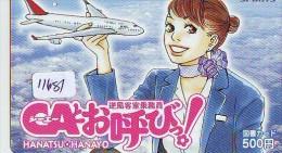 Carte Prépayée Japon * MANGA * AVION * AIRPLANE * ANIME (11.681) Movie Japan Prepaid Card Tosho Karte - Cinéma