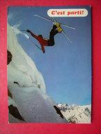 CPM SPORTS D'HIVER SKI  C'EST PARTI    VOYAGEE 1977 TIMBRE CACHET ET FLAMME - Sports D'hiver