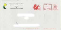 EMA HE 265168 Sarthe + Flamme Avec Dessin D'église Sur Env De La Mairie - Postmark Collection (Covers)
