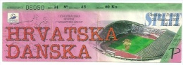 Sport Match Ticket (Football / Soccer) - Croatia Vs Denmark: World Championship Qualification 1997-03-29 - Tickets & Toegangskaarten