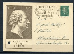 Germany 1931 Postal Stationary Picture Card Freiherr Vom Stein - Covers & Documents