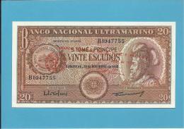 SAINT THOMAS & PRINCE - 20 ESCUDOS - 01.06.1976 - UNC. - P44 - ( Old Date 20.11.1958 ) - D. AFONSO V - Sao Tomé Et Principe