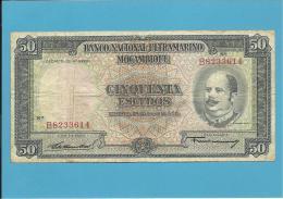 MOZAMBIQUE - 50 ESCUDOS - 24.07.1958 - P 106 - EDUARDO COSTA - 7 Digits - Sign Varieties - PORTUGAL - Mozambique