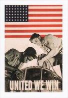American WW2 Poster Art Postcard United We Win USA Flag Stars & Stripes - Pubblicitari