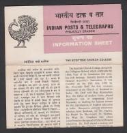 INDIA, 1980, FOLDER WITH STAMP, 150th Anniversary Of Scottish Church College, Calcutta, New Delhi Cancellation - India