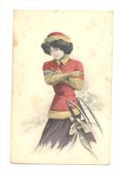 FANTAISIE -Illustrateur Otto Schilbach  - Femme Avec Une Luge (2022)b130 - Schilbach