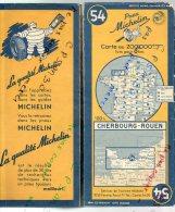 Carte Géographique MICHELIN - N° 054 CHERBOURG - ROUEN 1950 - Roadmaps
