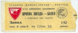 Sport Match Ticket (Football / Soccer) - Red Star Belgrade Vs Basel: European Cup 1980-11-05 - Match Tickets