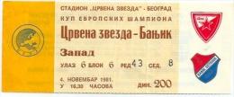 Sport Match Ticket (Football / Soccer) - Red Star Belgrade Vs Baník Ostrava: European Cup 1981-11-04 - Match Tickets