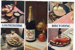 CP, GASTRONOMIE BRETONNE, Multivues, Voyagé En 1968, Editions D'Art JOS - Recipes (cooking)