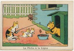 Benjamin Rabier Chromo La Peche A La Ligne Chat Bouledogue - Rabier, B.