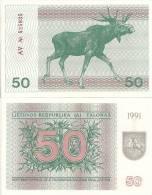 Lithuania P37b, 50 Talonas, Sea Thistles / Bull Moose, 1991  $10CV - Lituanie