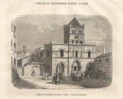 GRAVURE De 1853... L' Eglise De SAINT MARTIN D'AINAY, à LYON ( 69)...Dessin De Chiapory - Estampes & Gravures