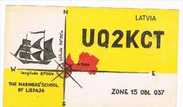 QSL CARD - URSS,  LATVIA,  RIGA  - 1967 THE MARINERS' SCHOOL OF LIEPAJA: SHIP       -  RIF. 155 - Radio Amateur