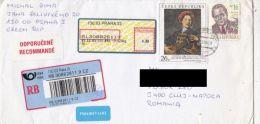 JAN PETR MOLITOR PORTRAIT, FRANTISEK HALAS, BARCODES, STAMPS ON REGISTERED COVER, 2005, CZECH REPUBLIK - Tchéquie