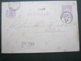 1882, Stationsstempel  CUIJK, Auf Karte - Postal Stationery