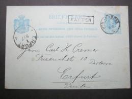 1888, Stationsstempel  KAMPEN, Auf Karte, Randkerbe - Postal Stationery