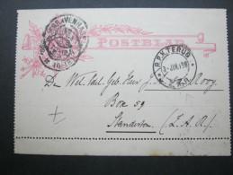 1898, Kartenbrief Nach Südafrika, Retour - Postal Stationery
