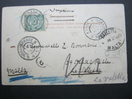1903, Karte Nach Malta - Periode 1891-1948 (Wilhelmina)