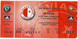 Sport Match Ticket (Football / Soccer) - Slavia Praha (Prague) Vs Osijek: Cup UEFA 2000-12-07 - Match Tickets