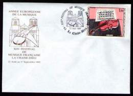 Cachet Festival De Musique De La CHAISE DIEU Du 22 AOUT 1985 Sur Timbres N° 1459 Et 2107 - Marcophilie (Lettres)