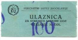 Sport Match Ticket (Handball) - Yugoslavian Championship - Match Tickets