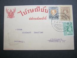 1922, Ganzsache Nach Deutschland - Siam
