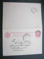 1893, Ganzsache, Doppelkarte Nach Australien - Nederlands-Indië
