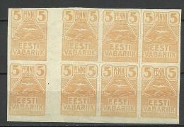 Estland Estonia Estonie 1919 Möwe Seagull Michel 5 Cutter Pair Zwichensteg MNH - Estonie