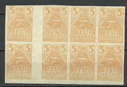 Estland Estonia Estonie 1919 Möwe Seagull Michel 5 Cutter Pair Zwichensteg MNH - Estland