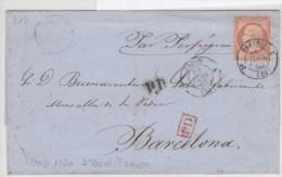 Lelettre De Paris Pour Barcelone Cad 1350 3eme Levée/etranger - 1849-1876: Classic Period