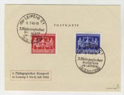 Gemeinschaftsausgaben Michel No. 969 - 970 gestempelt used auf Karte P�dagogischer Kongre� 1948