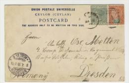 Ceylon Michel No. 59, 117 gestempelt used auf Karte