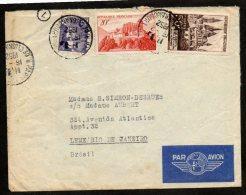 N°917+841A+883, Obl Cad Paris 16/2/52 Sur Lettre Pour Le Bresil  -  TB - Lettres & Documents