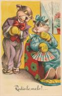 """CHATS - CAT -  Jolie Carte Fantaisie Chats Humanisés Amoureux """"Redis Le Me Le !"""" - Art Chop - Katten"""