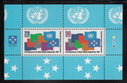 Micronesia MNH Scott #153a Souvenir Sheet Of 2 Flags - 1st Anniversary Of Admission To UN - Micronésie