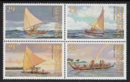 Micronesia MNH Scott #176a Block Of 4 Canoes: Yap, Kosrae, Pohnpei, Chuuk - Micronésie