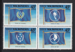 Micronesia MNH Scott #C42a Block Of 4 State Flags: Yap, Kosrae, Pohnpei, Truk - Micronésie