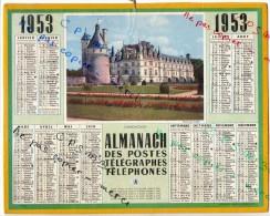 CALENDRIER GF 1953 - Chateaux De CHENONCEAUX; Imprimeur Oberthur - Calendriers
